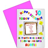 Auntie 30th Happy Birthday Card With Removable Magnet Gift - 30 Today - Alphabet Design
