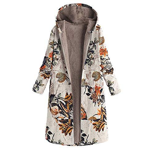 Damen Winter Warme Outwear Blumendruck Mit Kapuze Taschen Vintage Übergröße Mäntel Bohemien Kapuzenpullover Strickjacke Jacke Mantel Parka Von EUZeo Winter