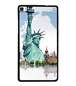 printtech Wonders of World Back Case Cover for Huawei Honor P8