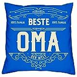 Soreso Design Geschenk Weihnachten Oma Kissen + Urkunde Beste Oma Geschenkidee Großmutter Farbe:royal-blau
