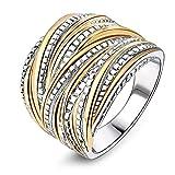 mytysun Damen Ring Edelstahl Gold und Silber vergoldet 2 Tone verflochten Crossover-Anweisung Ring Frauen Geschenk Ring Damen breit