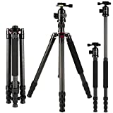 Carbon Fibre Tripod,K&F Concept® Tripod Carbon Fibre Photographic Detachable Monopod Camera Tripod for Digital Camera Panasonic Canon Nikon Sony GoPro Fujifilm Kodak DSLR Cameras 65.59