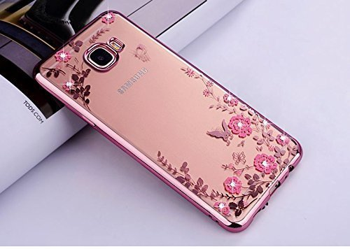 LOXXO ROSE GOLD New Edition Case For Samsung Galaxy A5 (2017) - Shockproof Silicone Soft TPU Transparent Auora Flower Case with Sparkle Swarovski Crystals for Samsung A5 (2017) Back Cover (ONLY FOR A520)  available at amazon for Rs.399