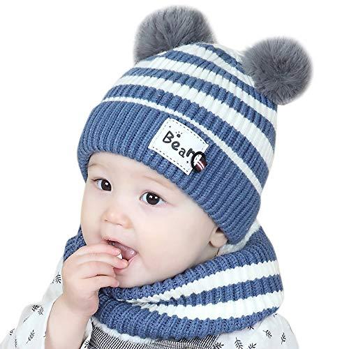 c0a90f30be9f Chapeau Enfant ADESHOP Mode Enfants garçon Fille d hiver Chaud Bonnet  tricoté bébé écharpe Chapeau