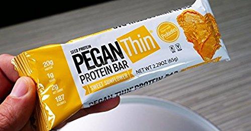 Pegan Thin® Protein Bar (Sweet Sunflower Butter) 12 Bars (20g Plant Protein) (2 Net Carbs 1g Sugar) VeganⓋ