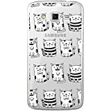 Funda carcasa TPU Transparente para Samsung Galaxy Grand 2 diseño estampado gatos blancos y negros con pajarita