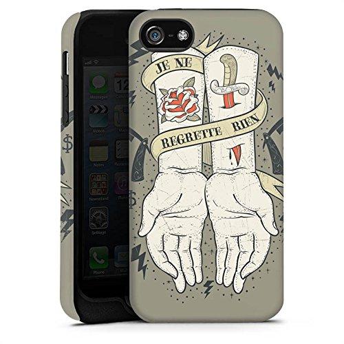 Apple iPhone 4 Housse Étui Silicone Coque Protection Tatouage Phrase Mains Cas Tough terne