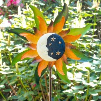 Métal éolienne – Sunface Moon Light – Résistant aux intempéries, peinte à la main – vent roue : Ø50 cm, profondeur : 13 cm, hauteur totale : 160 cm – avec support tige