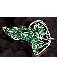 Topstaronline de el Señor de los anillos diseño de hoja verde broche colgante con cadena collar