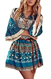 Vestido Verano Mujer Elegantes Clásico Especial Vintage Boho Impresión Floral Manga 3/4 V Cuello Fashion Chic Casual Vacaciones Vestidos Cortos Vestidos Playa (Color : Azul, Size : M)