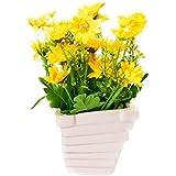 Scrafts Yellow Dry Flower Arrangement Ceramic Base Artificial/Dry/Faux Flowers Arrangement For Home Décor/Living Room Décor/Table Décor/Office Décor/Wedding Décor/Party Décor. LBH(inches)=3.5X3.5X7