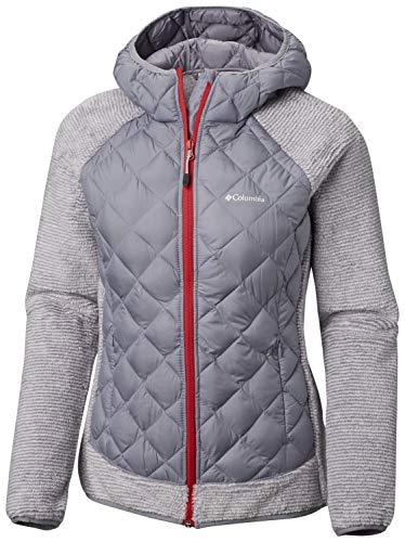 Columbia Isolierte Weste (Columbia Jacke für Damen, Techy Hybrid Fleece, Polyester, Grau (Astral/White Stripe), Gr. M, 1748421)