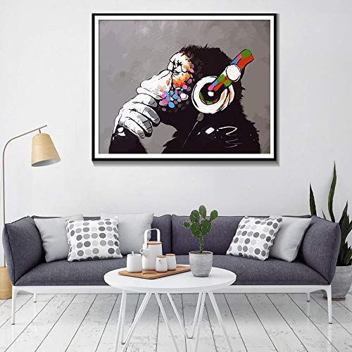 KAOLWY Gemälde Kunstwerk Poster Imprägniern AFFE Mit Kopfhörer Wandkunst Leinwanddruck Bunte Schimpanse Musik Hören Kopfhörer Druck Street Art Graffiti 50Cmx70Cm
