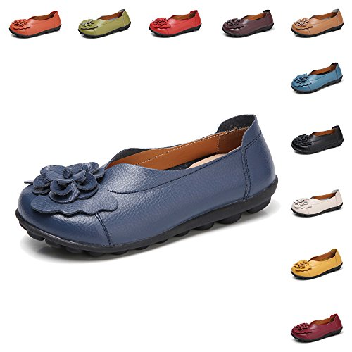 Gaatpot Damen Blumen Mokassins Atmungsaktiv Leder Bootsschuhe Freizeit Loafers Flache Fahren Halbschuhe Schuhe,11 Farben