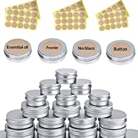 CozofLuv 20 Packs Empty Tin Containers, 15ML + 40ML Reusable Metal Round Mini Portable Storage Jar Box Aluminum Box for Jewelry, Candy, Tea, Spices, Soap Home Organizer