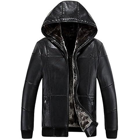 JJZXX Hombre Invierno caliente con capucha Faux piel chaqueta de abrigo Cashmere forrado Winter Coat
