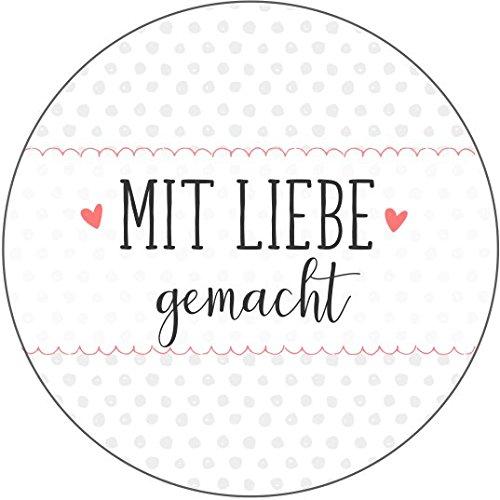 """wolga-kreativ 72 Aufkleber Geschenkaufkleber \""""mit Liebe gemacht\"""" Punkte Handmade Homemade Sticker"""