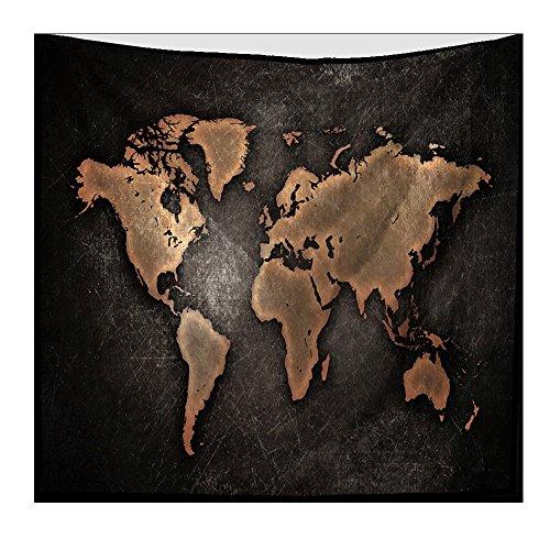 Arazzo singolo in stile celtico, mandala decorazione per la casa, stile bohèmien, motivo mandala, asciugamano da spiaggia appeso a parete con tappezzeria indiana in velluto poliestere con mappamondo, 200x150cm, 003