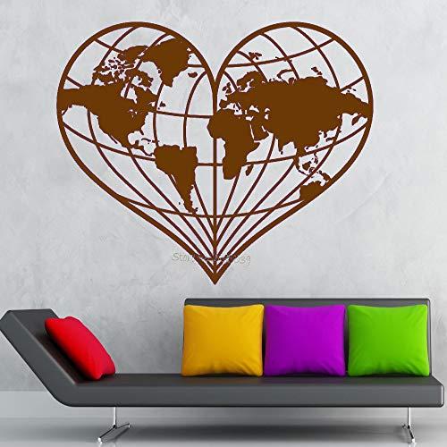 zhuziji Nuovi Adesivi murali di Design a Forma di Cuore Mappa del Mondo Geografia della Terra Pace Decalcomania del Vinile Rimovibile murale Divano Sfondo Decor 888-3 70x56 cm