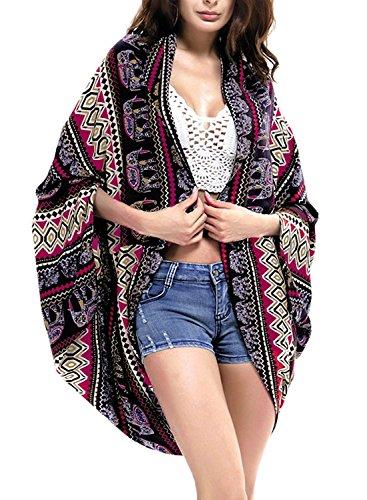Femme Cardigan de Plage Boho Imprimé Fleur Kimono Ete Chemise Mousseline de Soie Bikini Pareo Cover Up Sarong Maillot De Bain Robe Grande Taille - Landove Color 08