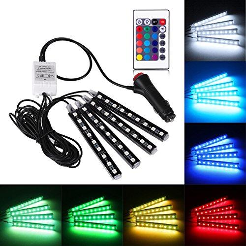 Preisvergleich Produktbild Geree Bunte RGB 36 LED Auto-Innenleuchten Strip Boden Dekorative Atmosphäre Wasserdicht Glow Neon Dekoration Lampe mit Funk-Fernbedienung und KFZ-Ladegerät