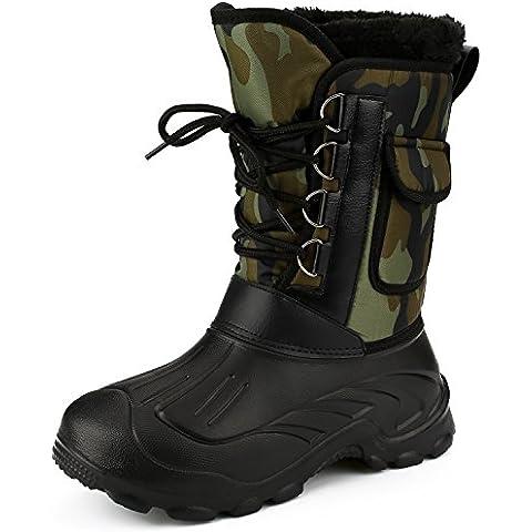 Sibba Botas de Nieve Hombre, Calzado de Senderismo, Cordones de Nylon Sólido, Botas de Nieve Lluvia para el Invierno, Botas Abrigadas con Lana