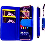 R.BAWA. Pack Containing 5 Parts. Blue Leather Wallet Case For Sony Xperia M + 2 Screen Protectors + 2 Stylus Pens
