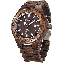 Alienwork Quartz Watch natural solid wood Wristwatch Handmade Ebonywood black black UM023B-01