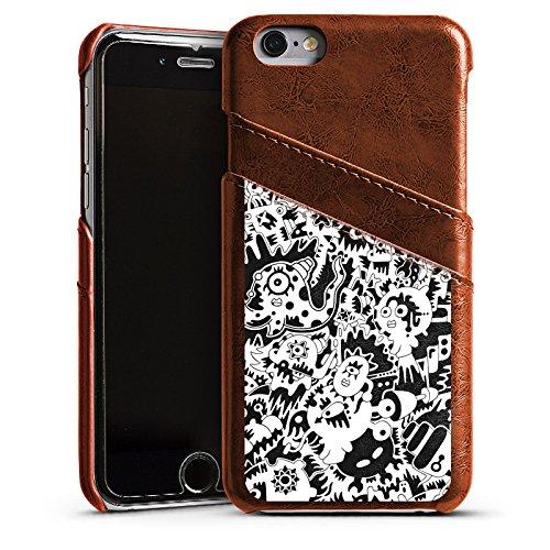 Apple iPhone 6 Housse Étui Silicone Coque Protection Pieuvre Noir blanc Créatures Étui en cuir marron