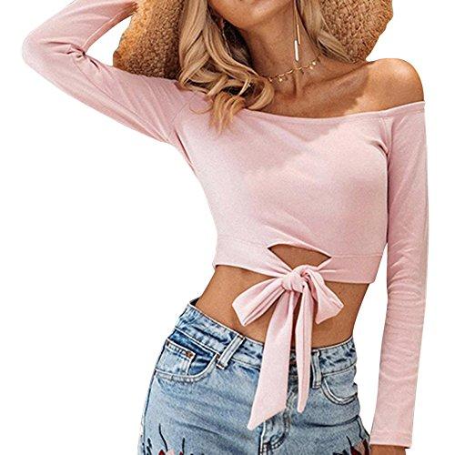 FORH Damen Mode kurz Tops, Schlank Lange Hülse Hemd bodycon Gestreift Tops Schulterfrei Ernte-Oberseiten-hohles T-Shirt (S, Rosa B) (Rosa Shirt Ärmelloses Denim)
