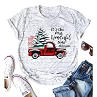 It's The Most Wonderful Time of The Year Christmas T Shirts for Women Tee Tops Size M (White)