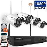 Kit Vidéo Surveillance Système de Caméra sans Fil,SMONET 8 CH Extensible 1080P NVR et 4 * 1080P Caméras avec 2 to Disque Dur, Vision Nocturne, Surveiller à Distance Via APP Gratuite