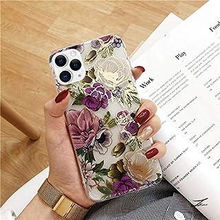 Uposao Kompatibel mit iPhone 11 Pro Max Hülle Bling Handyhülle 3D Blumen Blätter Bunt Muster Glitzer Silikon Hülle Case Tasche Durchsichtig Weich Ultra Dünn Schutzhülle,Lila Rose