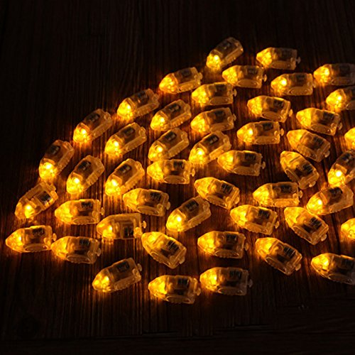 Bluelover 50Pcs / Lot Led Lampes Ballons Lumières Pour Papier Lanterne Ballon Multicolore Décor De Fête De Noël - Jaune