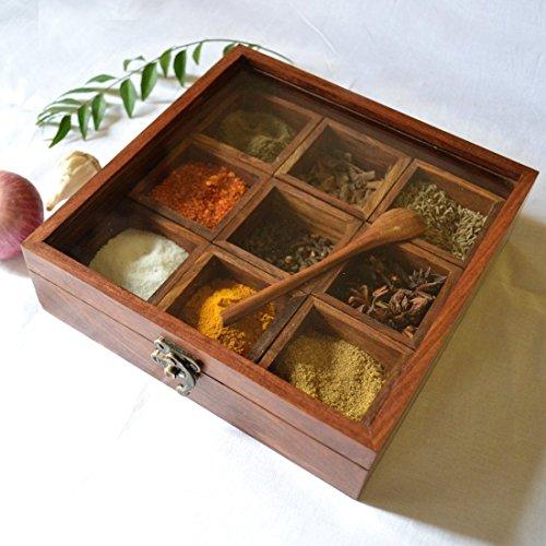 Stylla London Boîte à épices, Bois, Marron, 8.82 x 8.43 x 2.44 cm
