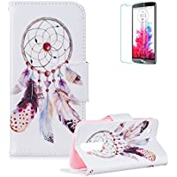 Funyye Custodia per LG K7 / LG K8 in Pelle Cover e Pellicola Protettiva,Acchiappasogni Naturale Disegno Portafoglio Copertura [Tasche per Soldi e Carte] [Chiusura Magnetica] Interna Morbida Silicone Cover LG K7 / K8 Flip Protection Case with Screen Protector