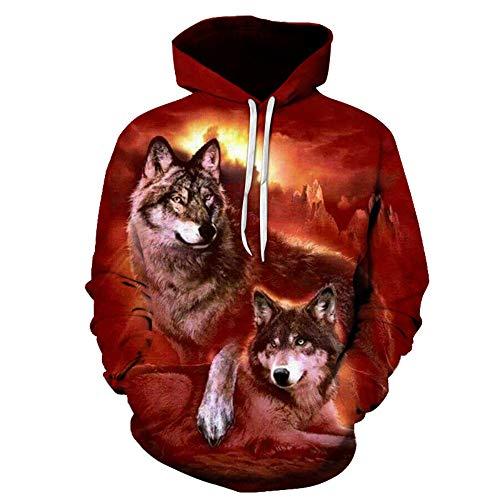 Unisex Hoodies Pullover Paar 3D Alert Wolf Druck Männer Frauen Langarm Sweatshirts Uniform Jumper Outdoor-Freizeit XXS-4XL, XXL, A -