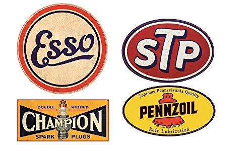 24/7stickers #105/Aufkleber Set 4x Vintage Öl Breite je ca. 6cm Oldtimer Oldschool Retro Rost Esso STP Champion Pennzoil HotRod