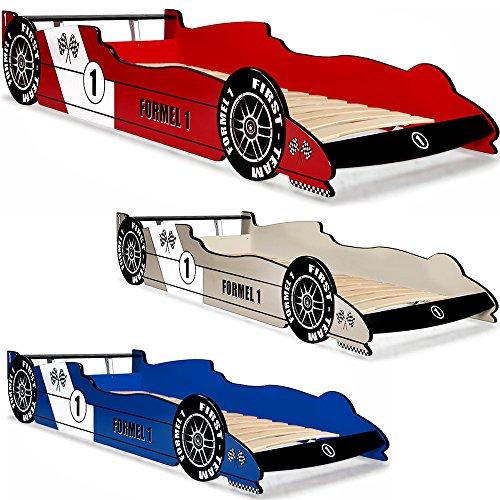 Autobett F1 Formel 1 Kinderbett Bett Schlafzimmer Kindermöbel Rennbett Spielbett Rot Blau Silber