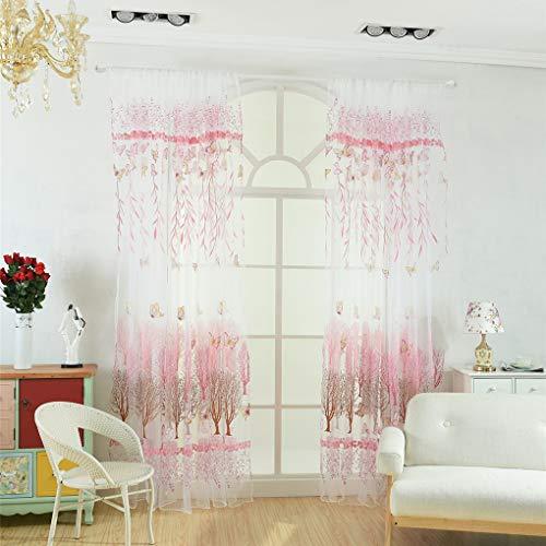 Zerama Schmetterling Willow Blumen Tüll Vorhang Balkon Wohnzimmer Semi Sheer Jalousie Tür Raumteiler Voile Vorhänge -