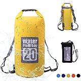 Wasserdichte Tasche, Dry Bag Wasserdichter Packsack Trockensack, Wasserdichte Beutel mit Wasserdichter Handybeutel und lang Verstellbarer Schultergurt, 5L/10L/15L/20L, Für Ruder- und Paddeltouren / Boot und Kajak/ Rafting Angeln / Camping und Snowboarden/ ideal zum Speichern von Mobiltelefonen/ Schuhe Super Wasserdicht (Gelb, 20L)