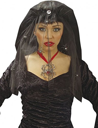 Schwarzer Halloween Schleier für Damen mit (Witwe Schwarze Halloween)
