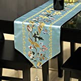 TABLE RUNNER LXF Simple Classical Dining Table Diseño de bordado de damasco Hermoso y elegante (Color : Azul, Tamaño : 32*200cm)