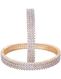 Ratnavali Jewels American Diamond Studded Gold Plated Traditional White CZ/Diamond Bangles For Women/Girls RV2643