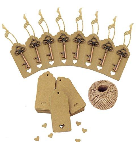 chlüssel Flaschenöffner Braun Kraftpapier Geschenk Tags Rechteck Tags mit 98 Fuß Natur Jute Twine (Kupfer) ()