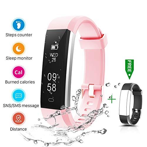 CHEREEKI Fitness Armband, Fitness Tracker Smartwatch Wasserdicht IP67 Aktivitätstracker Schrittzähler Fitness Armbanduhr Schlafanalyse Kalorienzähler Anruf/SMS Kompatibel mit iPhone und Android (Rosa)