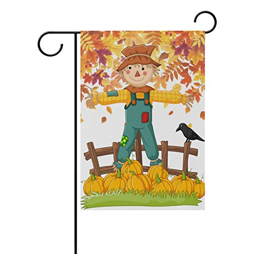 Double Face Dessin animé Épouvantail avec Bird Jaune tomber Feuilles d'automne Polyester Maison Jardin Drapeau Bannière 12 x 18/71,1 x 101,6 cm pour fête de mariage tous les temps, Polyester, multicolore, 12x18