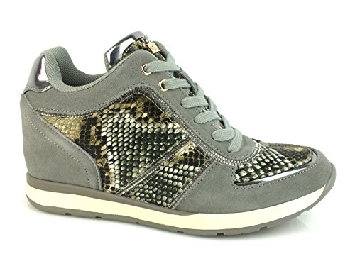 GUESS Laceon sneakers running zeppa PELLE OLIVE GRIGIO FLLCE3SUE12 41