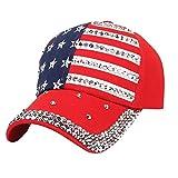 Familizo Cappello da Baseball per la Bandiera Americana delle Donne (Rosso)