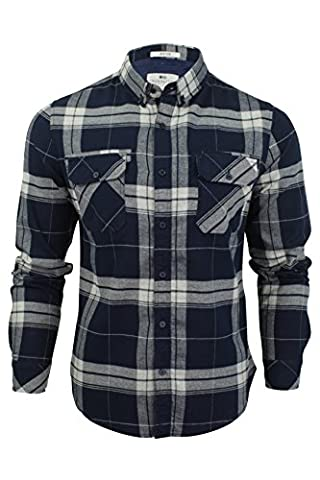 Crosshatch Mens Mitty Checked Long Sleeved Shirt - Dress Blues - Large